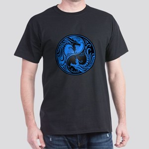 Blue and Black Yin Yang Dragons T-Shirt